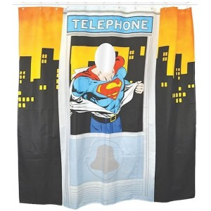 Rideau de douche Superman : cabine téléphonique