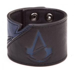 Bracelet Assassin's Creed Unity en cuir : logo bleu