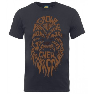 T-shirt Chewbacca : Tête en texte