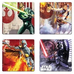 4 sous-verres Star Wars : Han, Luke, Boba et Dark