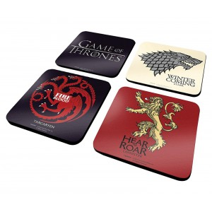 Sous-verres Game Of Thrones : Stark, Targaryen, Lannister, logo
