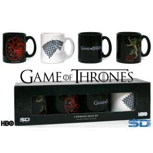 Set de 4 mugs expresso Game of Thrones emblèmes