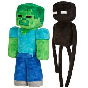 Zombie and Enderman plushes from Minecraft