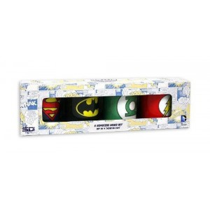 Set 4 mugs expresso DC Comics : Batman, Superman, Flash, Green Lantern