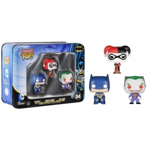 Pack 3 Figurines Pocket POP! Tins Batman, Joker, Harley Quinn 4 cm