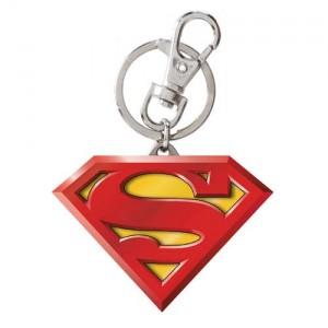 Porte-clé Superman en métal jaune/rouge