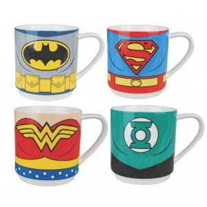 Set 4 mugs expresso DC Comics : Batman, Superman, Flash Green Lantern