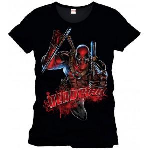T-Shirt Deadpool noir : attaque sanglante