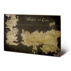 Tableau en bois carte de Westeros et Essos 40x60cm - Game Of Thrones