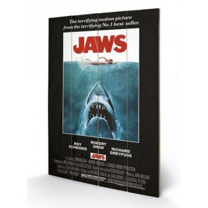 Jaws Wooden Wall Art One Sheet 40 x 60 cm