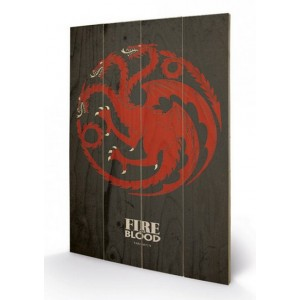 Tableau en bois Targaryen Game Of Thrones 40x60cm