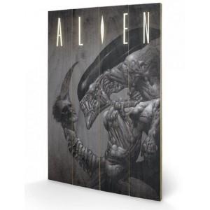 Tableau en bois Alien : Head  on Tail 40x60cm