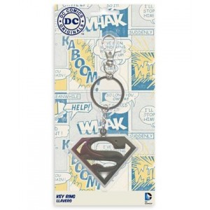 Superman metal keychain yellow/red