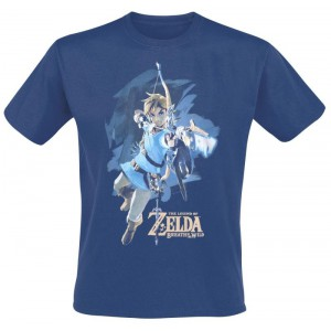 T-shirt Zelda Breath Of The WIld bleu Link avec arc