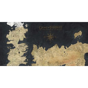 Game Of Thrones Glass Poster Westeros Map 50x25cm
