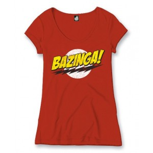 T-shirt femme Bazinga rouge (The Big Bang Theory)
