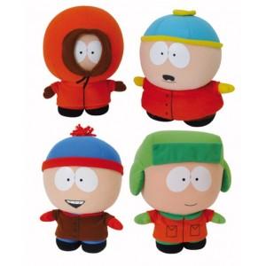 Pack 4 peluches South Park : Cartman, Kenny, Kyle et Stan