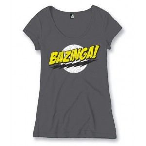 T-shirt Bazinga gris femme - The Big Bang Theory