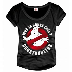 T-Shirt Ghostbusters femme Logo noir - SOS Fantômes