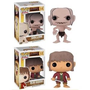 Figurines Gollum et Bilbo Baggins, le Hobbit