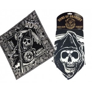 Bandana Sons Of Anarchy noir ou rouge/bleu
