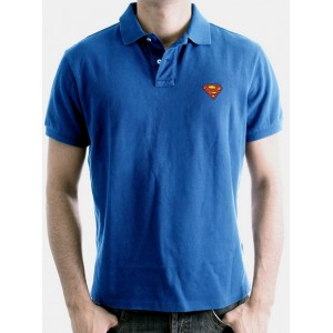 Polo Superman bleu cobalt